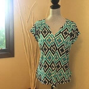 Lucky Brand v neck teal and navy top with buttons